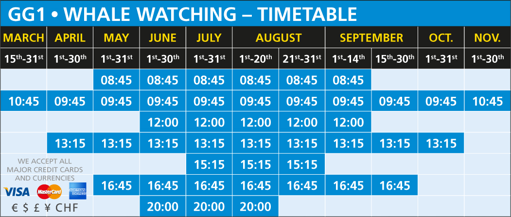 GG1 Whale Watching Timetable 2018